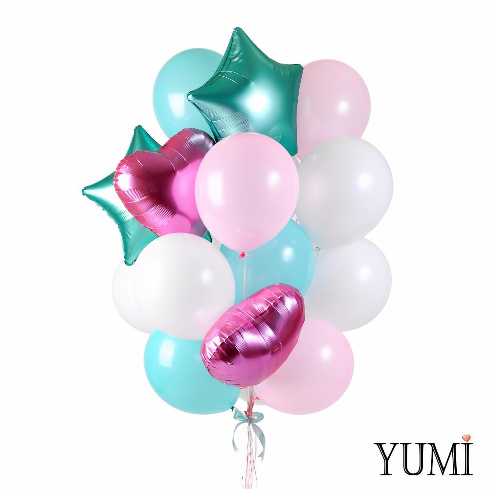 Связка: 3 сердца фламинго сатин, 2 звезды сатин изумруд, 4 розовых шара, 4 мятных, 7 белых