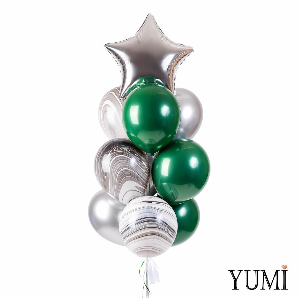 Связка: звезда серебро, 3 зеленых зеркальных, 3 агата чёрно-белых, 3 серебряных хрома