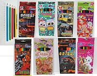 Карандаш цветной  12цветов заточенные 7303-12/7203 Мультяшки уп12