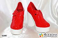 Женские закрытые туфли красные глянец,на широком каблуке