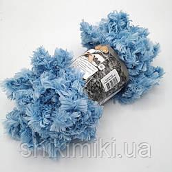 Фантазийная меховая пряжа Puffy Fur, цвет голубой