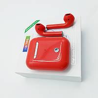 Беспроводные блютуз наушники i18 TWS с боксом для зарядки (Красные) Оригинал