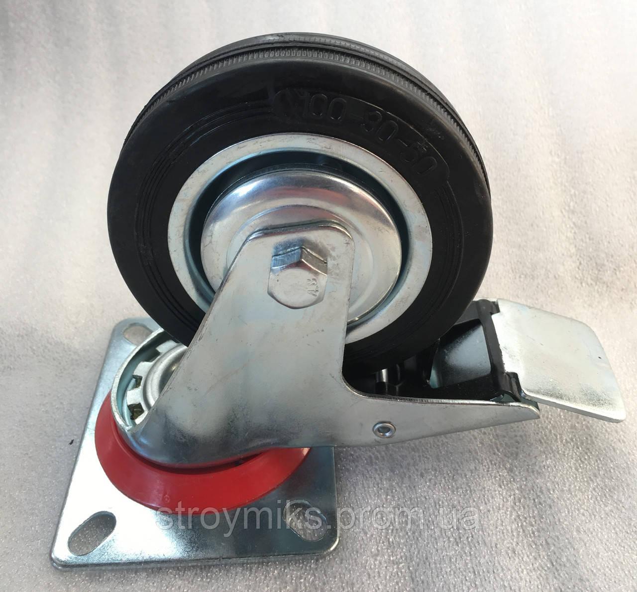 Колесо 100/30-50 с поворотным кронштейном и тормозом