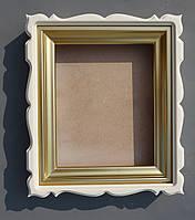 """Фигурный белый киот с багетом """"под золото""""., фото 1"""
