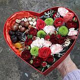 Коробочка сердце с цветами и сухофруктами., фото 2