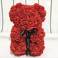 Мишка из роз (материал фоамиран) Lerosh - красный 25 см