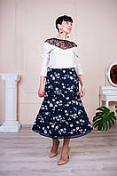 Женская юбка синяя с цветами Годе №8 ле19