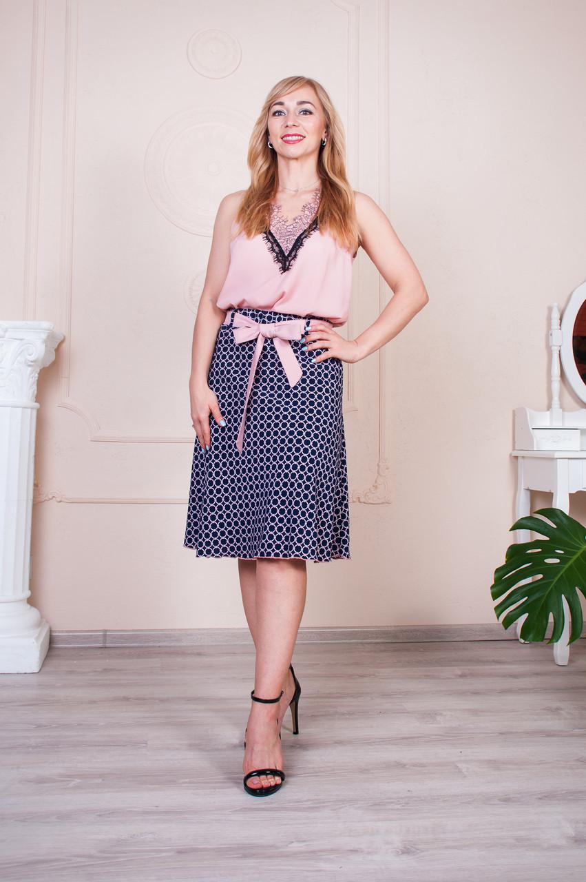 Летняя юбка Инесса синяя с розовым поясом
