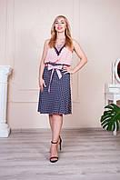 Летняя юбка Инесса синяя с розовым поясом, фото 1
