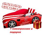 Кровать машина с матрасом, (ліжко дитяче) серия Элит MERCEDES красный + Подарок