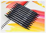 Набор двусторонних акварельных маркеров на водной основе STA 36 цветов (B141220) авкамаркеры, ВИДЕООБЗОР!, фото 4