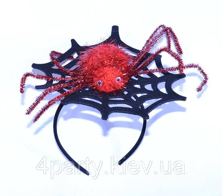 Обруч Паук на паутине гламур (красный) 050916-049