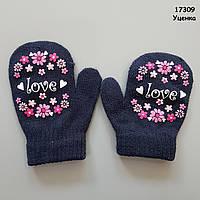 Рукавиці Love для дівчинки. 2-4 роки, фото 1
