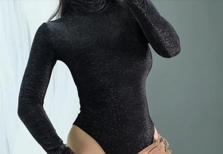Жіночий боді Rapwriter Ameli з блискітками, що облягає, з високим коміром, довгий рукав, чорний