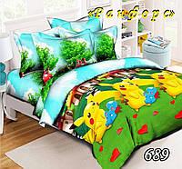 Комплект постельного белья полуторный Пикачу покемон подростковый 150х215