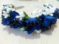 Ободок з синіми маками