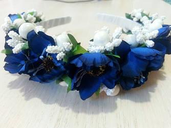 Ободок с синими маками