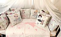 """Комплект постельного белья в кроватку """"Балерина"""", набор постельного в детскую кроватку, бортики в кроватку"""