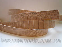 """Ременная полоса из кожи растительного дубления с тиснением """"КРОКОДИЛ"""" 50 мм, толщина 3,5 мм"""