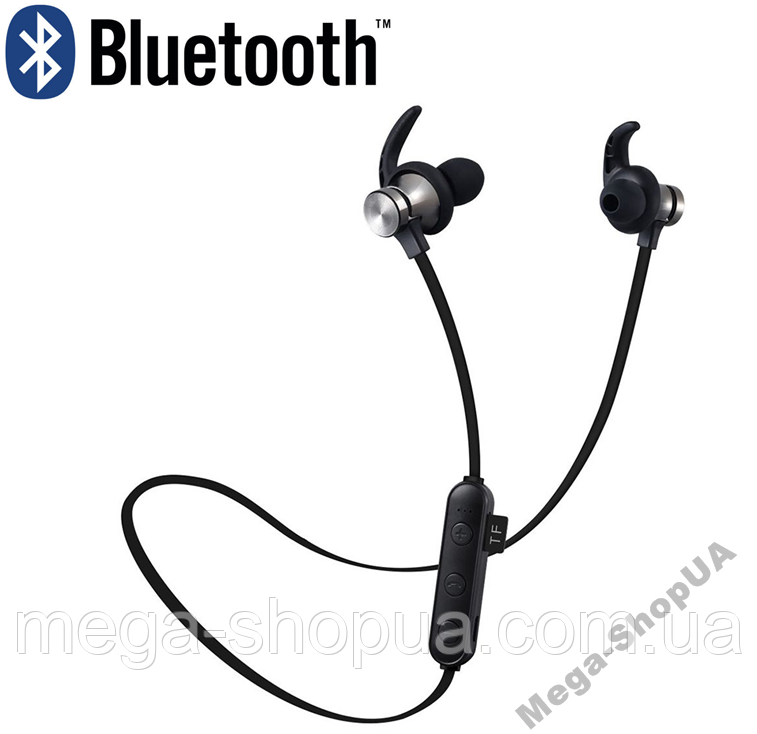 Вакуумные наушники и гарнитура беспроводные Bluetooth блютуз GU-98 / MP3 плеер / Черные. Бездротові навушники