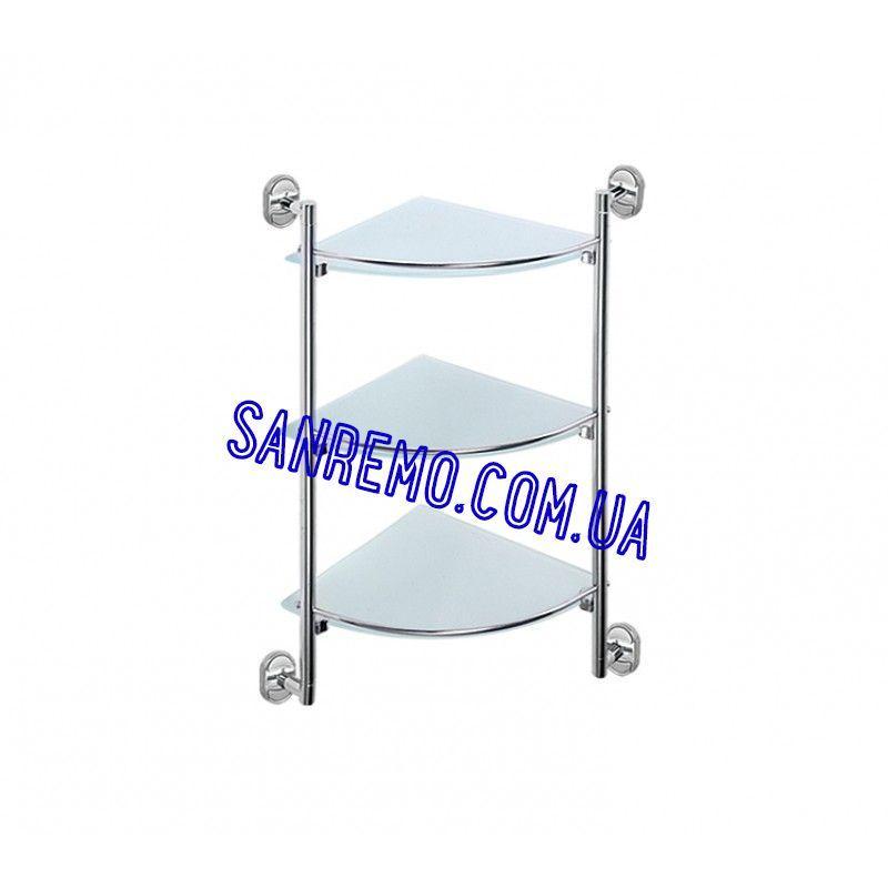 Стеклянная полочка для ванной комнаты 3-х ярусная Potato P2907-3