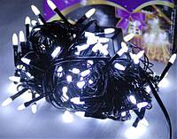 Гирлянда светодиодная LED 100 белый на черных проводах