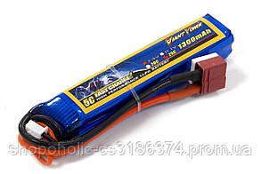Аккумулятор для страйкбола Giant Power Li-Pol 7.4V 2S 1300mAh 25C 17х18.5х95мм T-Plug