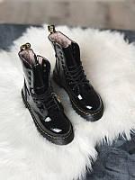 Женские кожаные ботинки Dr Martens Jadon Black (Др Мартинс Жадон Блек Черные) с мехом, покрытые блестками