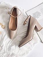 Туфли на устойчивом каблуке, туфли женские, нюд, туфли на каблуке цвета нюд, р 35, 36