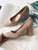 Замшевые туфли, бежевые туфли, женские туфли бежевого цвета, р37