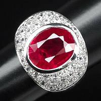 """Серебряный перстень с рубином и белыми сапфирами """"Алый"""", размер 19.6, фото 1"""