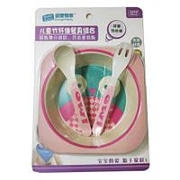 Набор детской посуды бамбуковой Eco Bamboo fibre kids set  3 предмета R83772 Pink