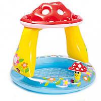 Надувной бассейн детский с навесом Intex 57114 грибочек
