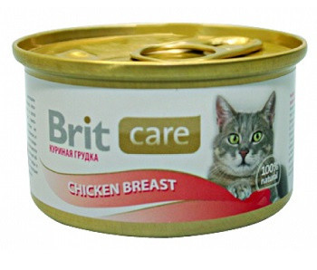 Консервы Brit Care (Брит Кеа) для кошек с куриным филе и рисом 80 гр