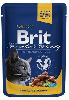 Brit Premium Влажный корм с курицей и индейкой для кошек 100 гр