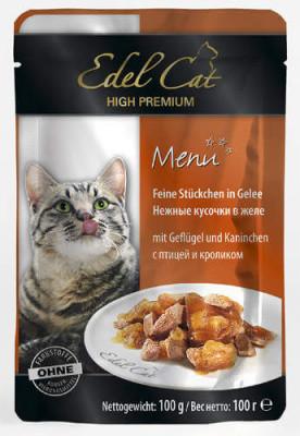 Консервований корм для кішок Edel Cat птах з кроликом в желе 100 гр