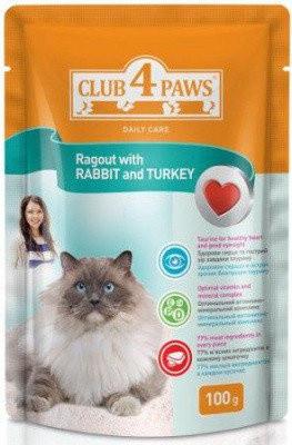 Влажный корм для кошек Клуб 4 Лапы рагу кролик с индейкой 100 гр