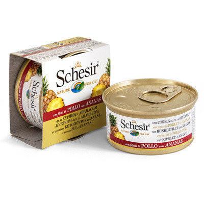 Schesir Chicken Pineapple Влажный корм для котов с курицей и ананасами 75 гр