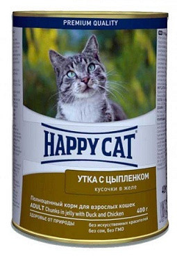 Happy Cat (Хеппи Кет) Консервы для кошек Утка с цыпленком в желе