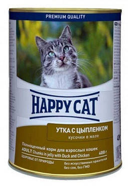 Happy Cat (Хеппи Кет) Консервы для кошек Утка с цыпленком в желе, фото 2