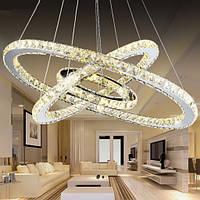 Люстра хрустальное кольцо трехколесная светодиодная лампа 70см