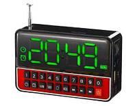 Портативная колонка часы MP3 плеер Спартак WS-1513 Black