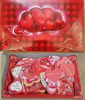 Валентинка min1 Укр 5х4,5см с присыпкой Сердце Смайл (в коробке 300шт)