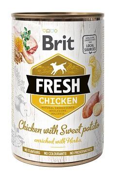 Brit Fresh Консервы Брит Фреш для собак с курицей и бататом 400 гр