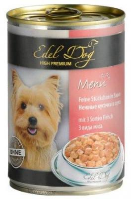 Edel Dog (Эдель) Консервы для собак-три вида мяса 1,2 кг
