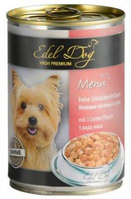 Edel Dog (Эдель) Консервы для собак-три вида мяса 1,2 кг, фото 2