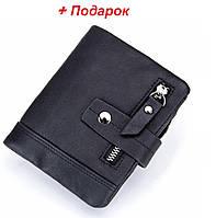 Мужское портмоне из натуральной кожи Stela Italia . Мужской кожаный кошелек Черный