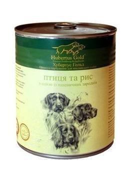 Hubertus Gold Консервы для собак Птица и  рис 800 гр