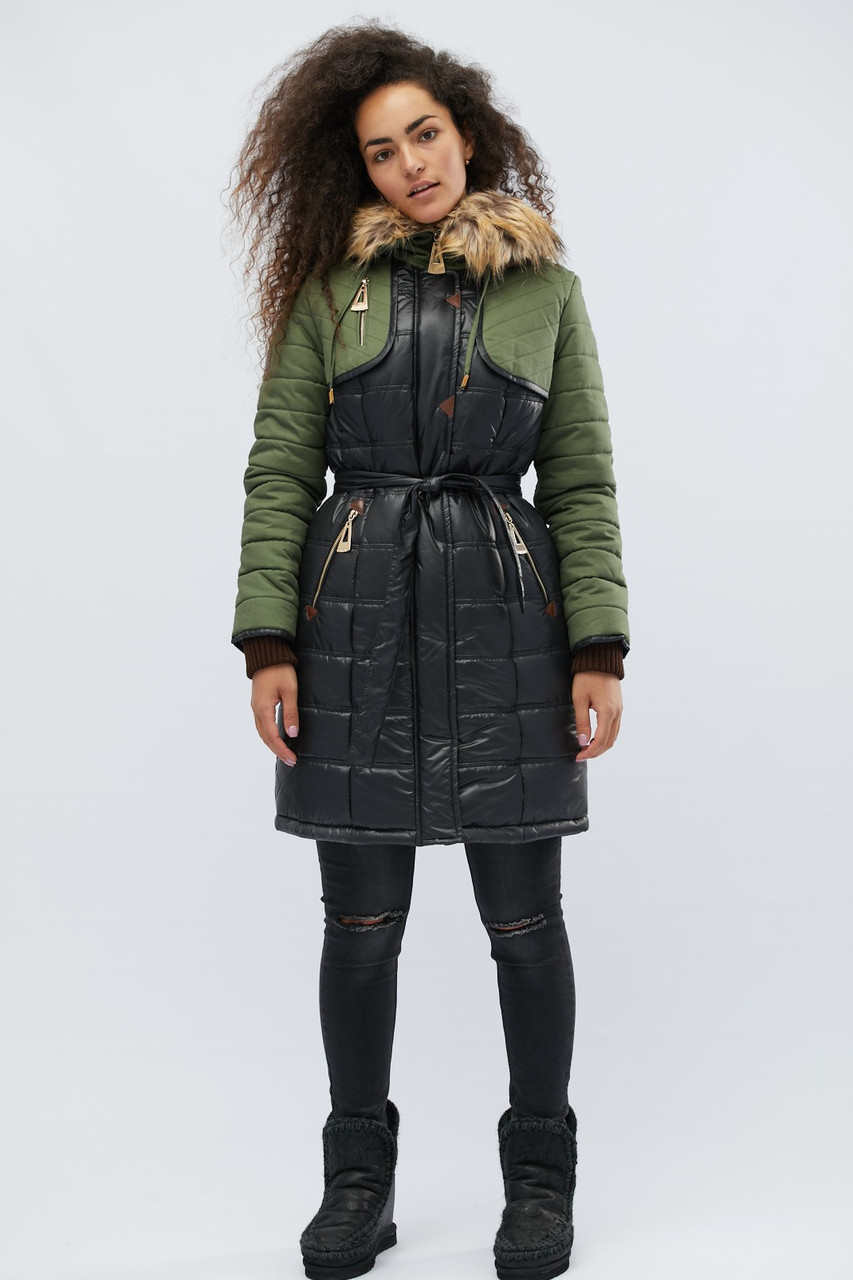 Удлиненное зимнее пальто полуприлегающего силуэта