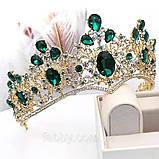 Велична корона півколом з зеленим камінням (8cm), фото 8